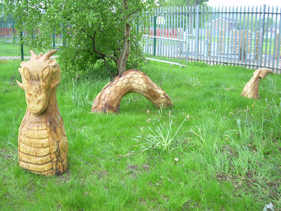 Wooden Dragon in a garden